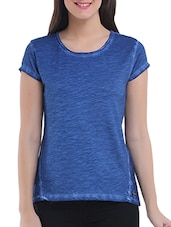Blue Cotton Short Sleeved Solid Top - By