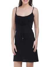 Black Viscose Sleeveless Solid Dress - By