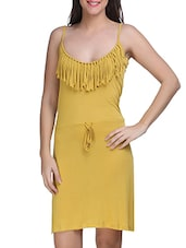 Yellow Viscose Sleeveless Solid Dress - By