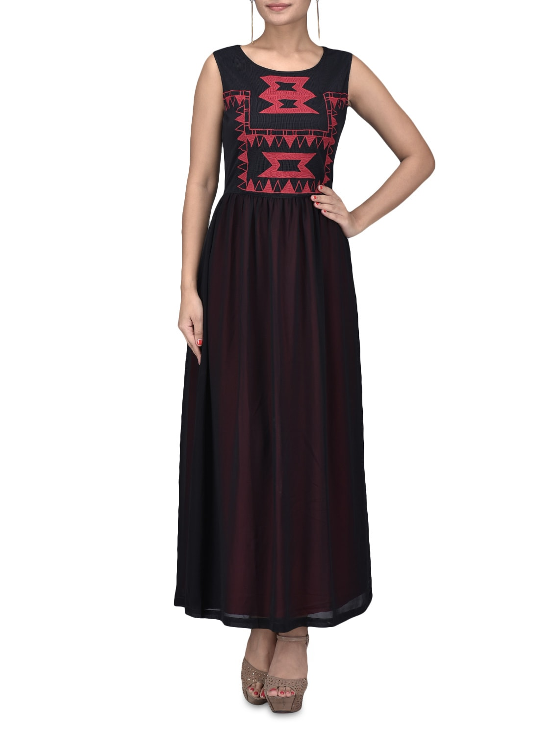 Black And Maroon Gathered Maxi Dress - By