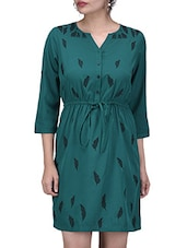 Teal Green Leaf Printed Poly Crepe Tunic - By