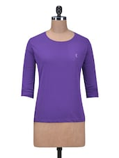Solid Purple Cotton Full Sleeves Top - By