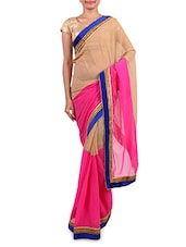 Beige  Chiffon Embroidered Saree - By