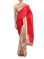 Red  Georgette Embroidered Saree - By