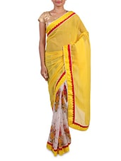 Yellow Chiffon Printed Saree - By