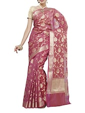 Pink Zari Worked Chanderi Silk Saree - By