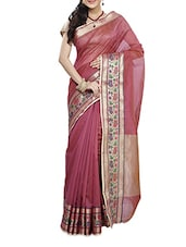 Purple Zari Worked Chanderi Silk Saree - By