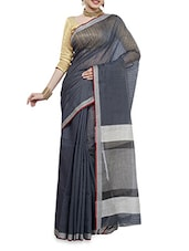 Grey Handwoven Chanderi Silk Saree - By