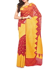 Red Handwoven Chanderi Silk Saree - By