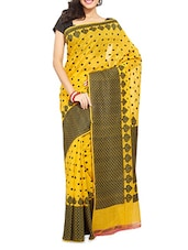 Yellow Handwoven Chanderi Silk Saree - By