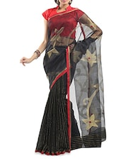 Black Zari Worked Chanderi Silk Saree - By