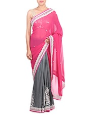 Pink Georgette Zari Embroidered Saree - By