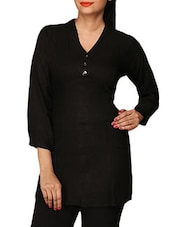 Black Plain Cotton Lycra Short Kurti - By