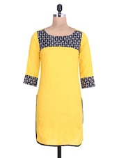 Yellow Cotton Polka Dot Printed Kurti - By