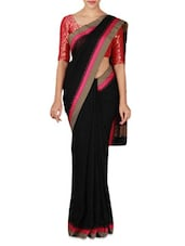 Black Handwoven Phulia Cotton Saree - By