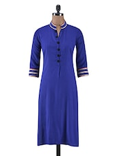 Blue Cotton Laced Kurti - By