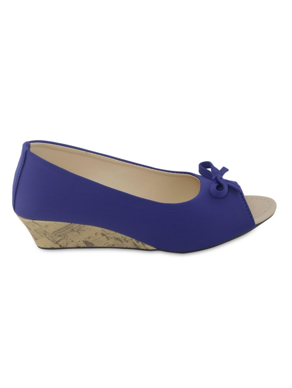 Blue Peep-Toe Wedge Ballerinas - By