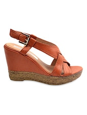 Tan Faux Leather Strappy Wedges - By