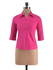 Solid Pink Plain Cotton Shirt - By