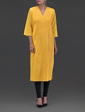 Solid Yellow Plain Cotton Kurta - By
