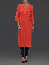 Solid Red Cotton Kurta - By - 1264296