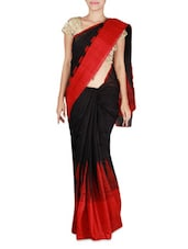 Black And Red Matka Silk Saree - By