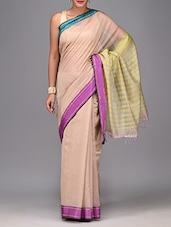 Beige And Light Olive Striped Sari - By