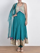 Teal Net Suit Set With Zari Work - By