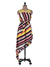 Multicolored Striped Asymmetrical Dress - By