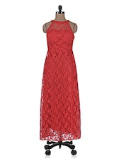 Red Lace Fabric Maxi Dress - By