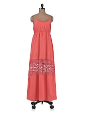 Coral Red Maxi Lace Dress - By