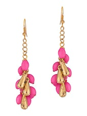 Pink Golden Tone Pair Of Earrings - By