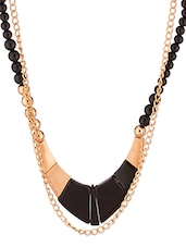 Black-Golden Metallic Studded Necklace - By