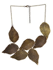 Gold Metallic Leaves Necklace - By