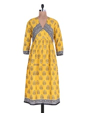 Yellow Cotton Printed Kurta With Gathers - By