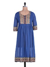 Blue  Cotton Printed Kurta With Gathers - By
