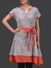 Grey And Red Chanderi Silk Dress - By