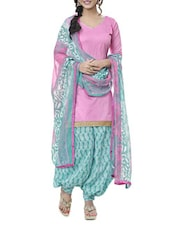Pink Printed Cotton Blend Unstitiched Suit Piece - By