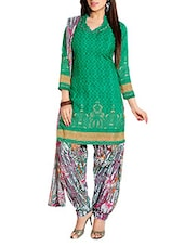 Green Colour Embroidered Cotton Unstitched Suit Piece - By