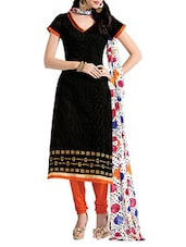 Black Colour Embroidered Chanderi Unstitched Suit Piece - By