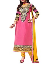 Pink & Blue Colour Embroidered Chanderi Unstitched Suit Piece - By