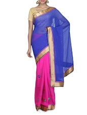 Blue And Pink Embellished Faux Chiffon Saree - By