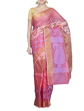 Pink Self Woven Chanderi Silk Saree - By