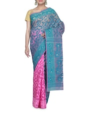 Green And Pink Cotton Net Jamdani Saree - By