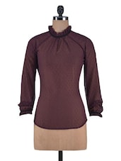 Brown Poly Georgette Swiss Dotted Victorian Top - By