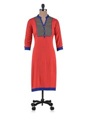 Green Rayon Embroidered Kurta - By