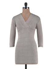 Light Grey Woolen Bodycon Dress - By