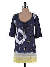 Printed And Zari Embroidered Navy Blue Poly Silk Tunic - By