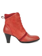 Red Lace-Detailed Zippered Leatherette Boots - By