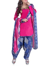 Pink And Blue Printed Suit Set - By